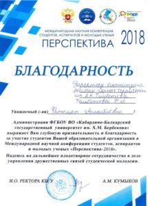 Лучшая работа молодежного форума Перспектива – 2018